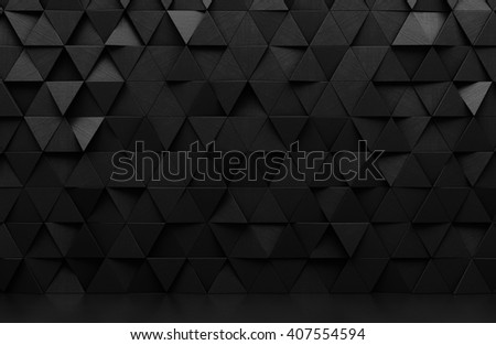 Black triangular abstract background, Grunge surface, 3d Rendering - stock photo