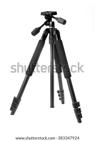 Black tripod isolated on white background. - stock photo