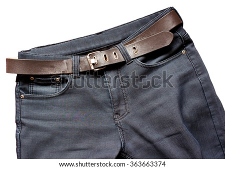 Black trousers and belt close up detail isolated on white background - stock photo