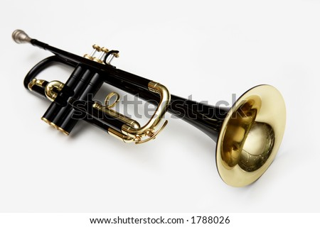 black trumpet on white background