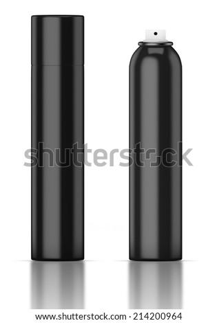 Black tube isolated on a white background. Deodorant, hair spray, spray, air freshener. - stock photo