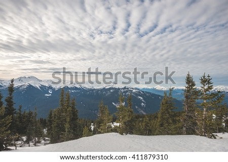 Black Tusk mountain from the peak at Whistler resort in Canada - stock photo