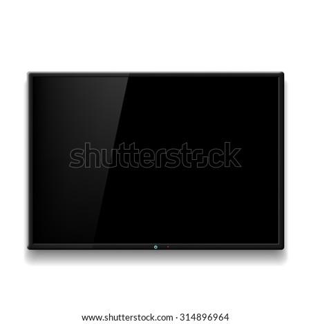 Black TV hanging on white wall. Stock image. - stock photo