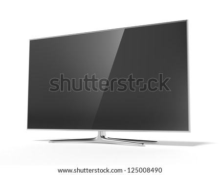 Black tv isolated on a white background - stock photo