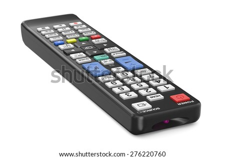 black TV remote control isolated on  white background - stock photo