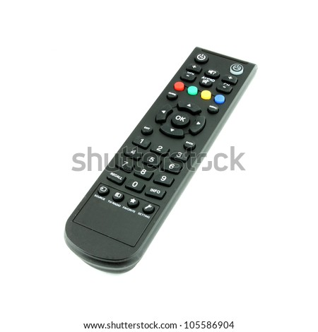 black TV remote control on white background - stock photo