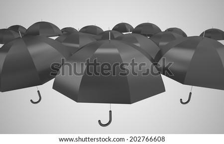Black umbrella - stock photo