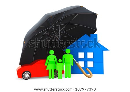 Black umbrella covers home, car and persons on a white background - stock photo