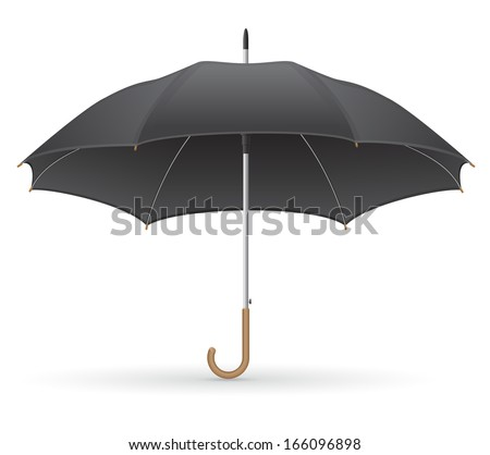 black umbrella illustration isolated on white background