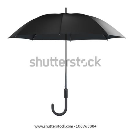 Black umbrella isolated on white background - stock photo