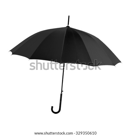 Black umbrella Isolated on white background with clipping path. - stock photo