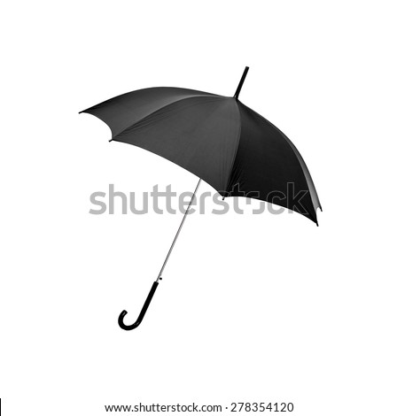 Black umbrella on white background - stock photo