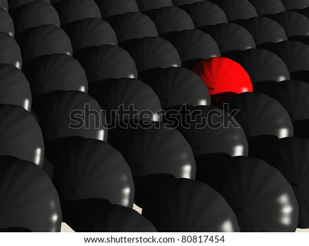 black umbrellas with a single red umbrella