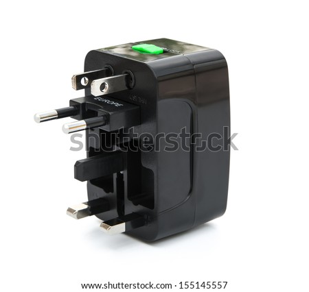 black universal adapter on white with clipping path
