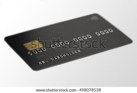 Black universal bank card on white background, depth of field, cardholder name