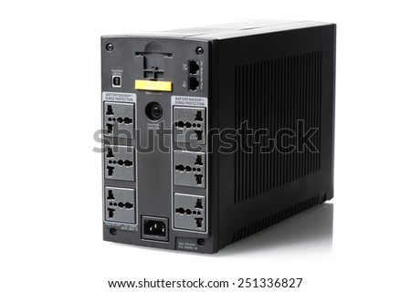 black UPS (Uninterruptible Power Supply) on white background