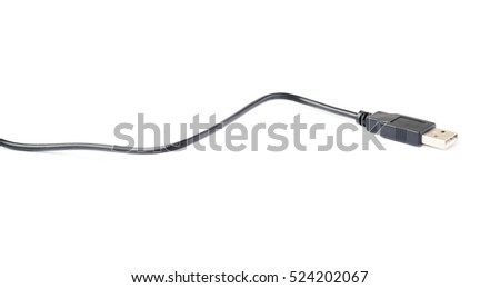 Black USB cable isolated over white background