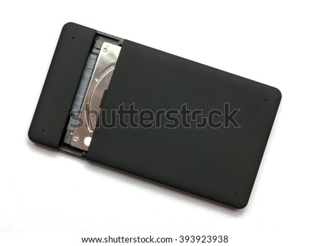 "Black USB 3.0 External Hard Drive case  2.5"" inch isolated on a white background"