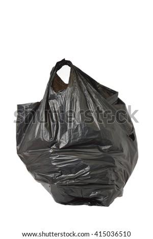 black used plastic bags on white background - stock photo
