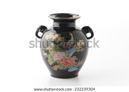 black vase isolated on white background - stock photo