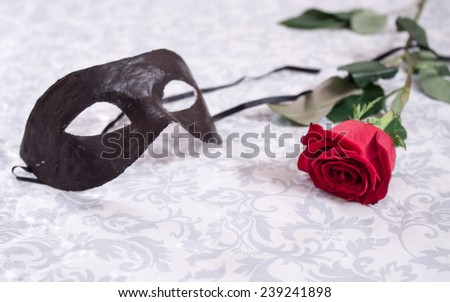 Black venetian masquerade mask at the red rose on white textured background - stock photo