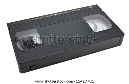 Black vhs cassette, isolated on white, clipping path included. - stock photo