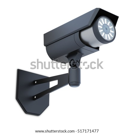 Black video surveillance camera isolated. 3d rendering.