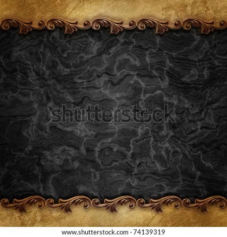 black vintage background with ornate frames - stock photo