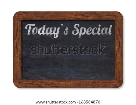 "Black vintage chalkboard with worn-out typing ""Today's Special"" including clipping path - stock photo"