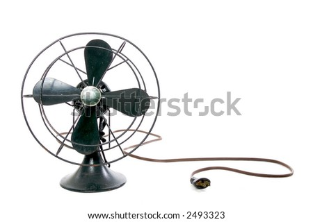 black vintage fan on-white