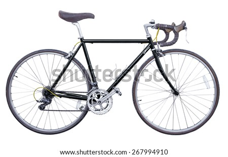 black vintage road bike isolated - stock photo