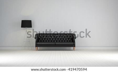 black  vintage sofa on the room 3d rendering - stock photo
