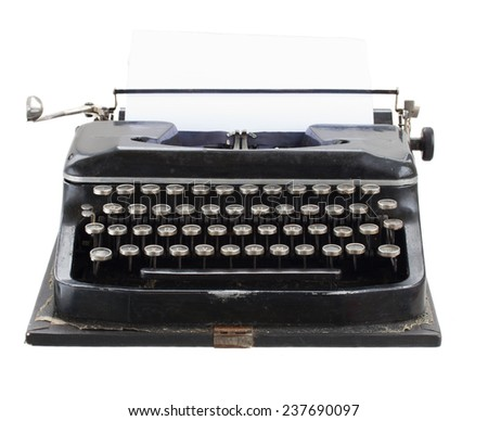 black vintage typewriter with empty white page isolated on white background