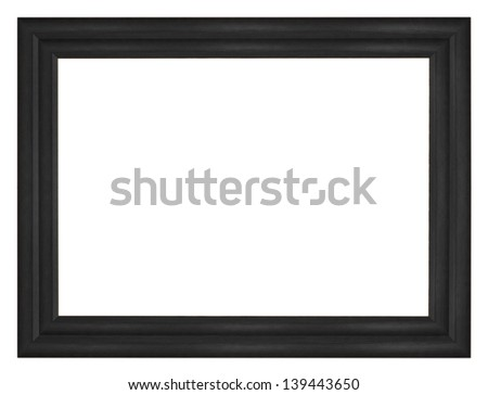 Black vintage wooden frame isolated white background. - stock photo