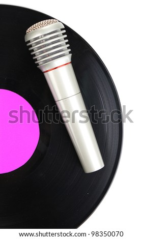 Black vinyl record and microphone isolated on white
