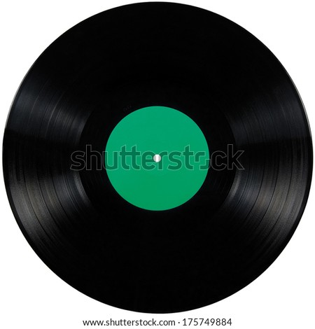 Black vinyl record lp album disc; isolated long play disk with blank empty label in green, large detailed studio shot copy space