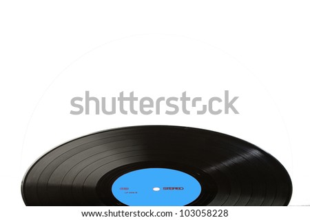 Black vinyl record LP discs; isolated on white. Label blue. Your text. - stock photo