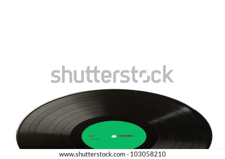 Black vinyl record LP discs; isolated on white. Label green.  Your text. - stock photo