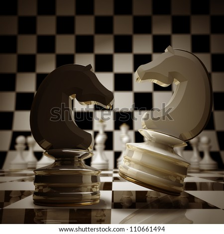 Black vs wihte chess horse background sepia tone 3d illustration. high resolution - stock photo