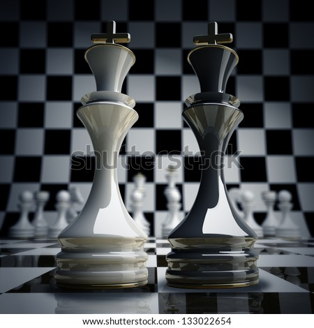 Black vs wihte chess king background 3d illustration. high resolution - stock photo