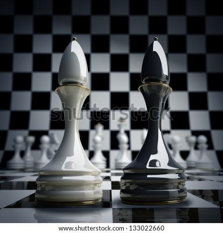 Black vs wihte chess officer background 3d illustration. high resolution - stock photo
