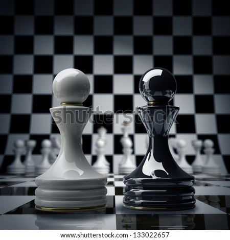 Black vs wihte chess pawn background 3d illustration. high resolution