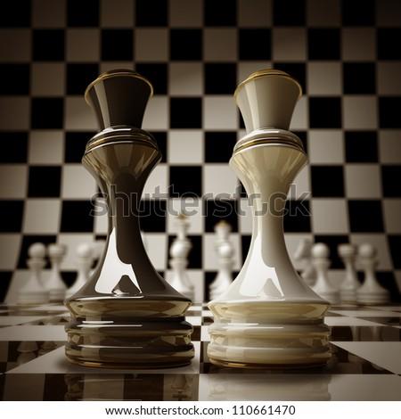 Black vs wihte chess Queen background sepia tone 3d illustration. high resolution - stock photo