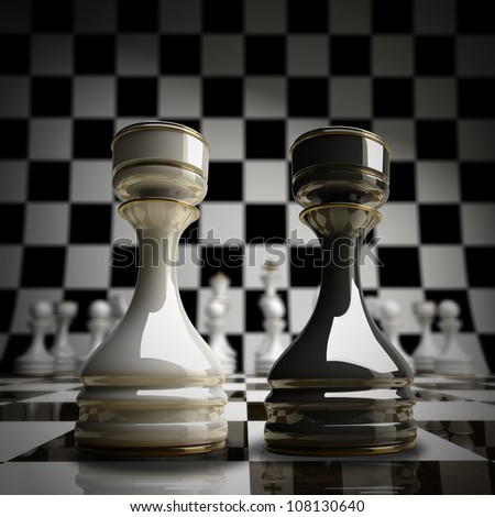 Black vs wihte chess rook background 3d illustration. high resolution