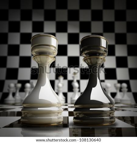 Black vs wihte chess rook background 3d illustration. high resolution - stock photo