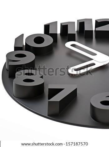 Black wall clock - stock photo