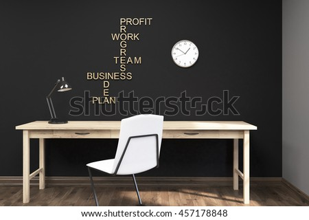 Black wall with yellow letters on it. Large clock. Wooden table with lamp. Concept of efficient work. 3d rendering. Mock up