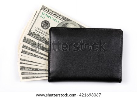 Black wallet with American dollars