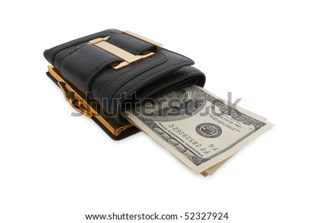 black wallet with the pack of dollars