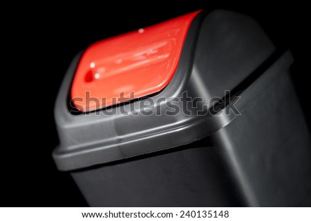 Black Waste Paper Bin - stock photo